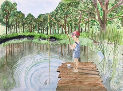 "Pierce's winning painting ""A Boy Fishing"""
