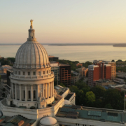 Wisconsin state capital building view from above